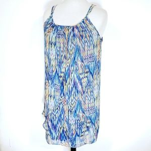 Womens 10 Tunic Length Layered Flowy Tank Top